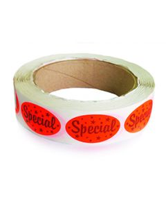 """Orange self-sealing oval label with """"SPECIAL"""" mention 500/rl"""
