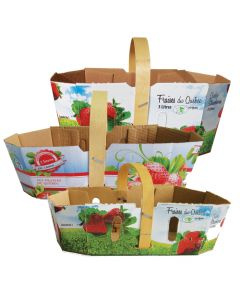 Cardboard basket for strawberries with handle